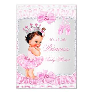 Brunette da bailarina do rosa da menina da convite 12.7 x 17.78cm