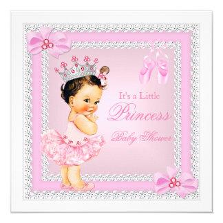 Brunette da bailarina do rosa da menina da convite quadrado 13.35 x 13.35cm