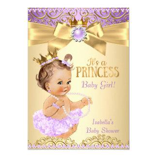 Brunette da princesa chá de fraldas da bailarina convite 12.7 x 17.78cm