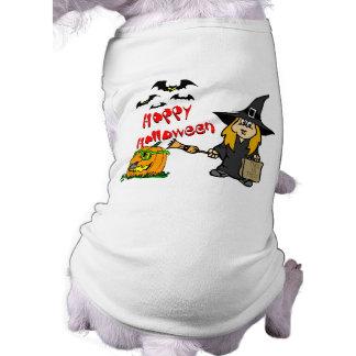 Bruxa bonito do Dia das Bruxas Camisa Sem Mangas Para Cachorro