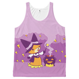 Bruxa do Fox do Dia das Bruxas que chama doces Regata Com Estampa Completa