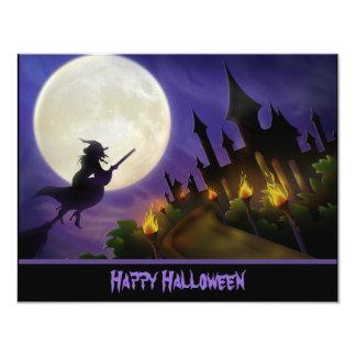 Bruxa e convite assombrado do Dia das Bruxas da
