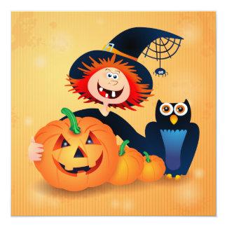 Bruxa engraçada com coruja e abóboras, convite