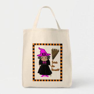 Bruxa engraçada no rosa - saco da doçura ou sacola tote de mercado