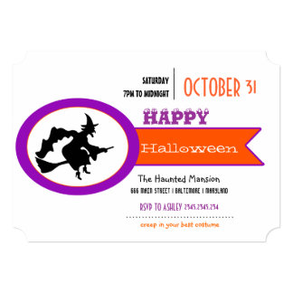 Bruxa engraçada o Dia das Bruxas feliz roxo Convites Personalizados