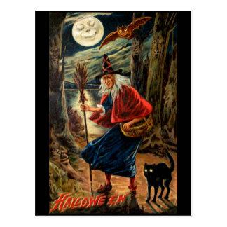 Bruxa na noite do Dia das Bruxas Cartão Postal