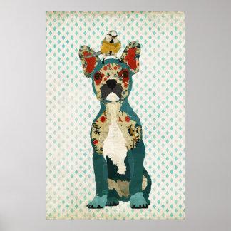 Buldogue francês & poster pequeno da arte do