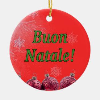 Buon Natale! Feliz Natal no gf italiano Ornamento De Cerâmica Redondo