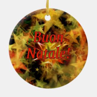 Buon Natale! Feliz Natal no rf italiano Ornamento De Cerâmica Redondo