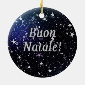 Buon Natale! Feliz Natal no wf italiano Ornamento De Cerâmica Redondo