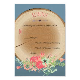 Buquê de madeira rústico - cartões da resposta convite 8.89 x 12.7cm