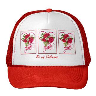 Buquê e fita da rosa vermelha boné