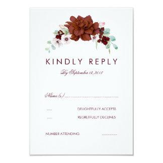 Buquê floral de Borgonha que Wedding o cartão de