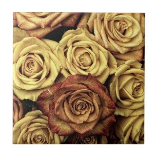 Buquê floral desvanecido bonito do vintage dos ros azulejo quadrado pequeno