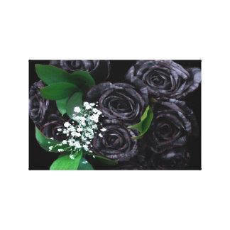 Buquê preto dos rosas impressão de canvas envolvidas