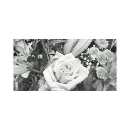 Buquê preto e branco da flor impressão de canvas esticadas