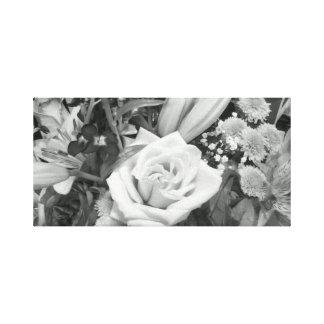 Buquê preto e branco da flor impressão em tela