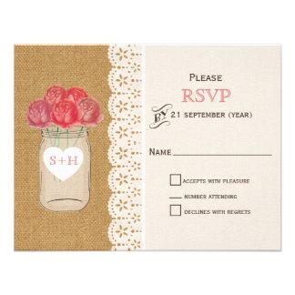 burlap, coral roses in mason jar wedding RSVP Custom Invites
