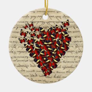 Butterfies românticos do vintage ornamento de cerâmica redondo