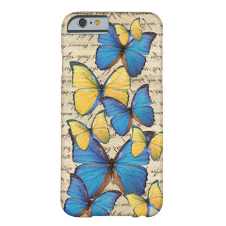 Butterrflies azuis & amarelos capa barely there para iPhone 6