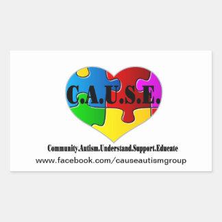 C.A.U.S.E. Etiqueta do logotipo Adesivo Retangular