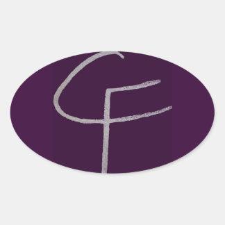 C F iniciais Adesivos Em Formato Oval