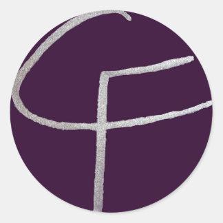 C F iniciais Adesivo Em Formato Redondo