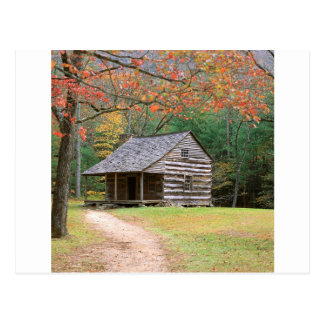 Cabana rústica de madeira histórica da cena no cartão postal
