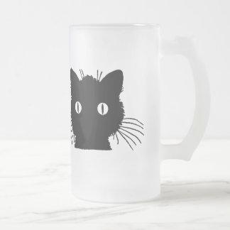 Cabeça bonito do gato do gatinho caneca de cerveja vidro jateado
