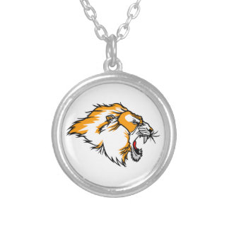 Cabeça do leão colar com pendente redondo