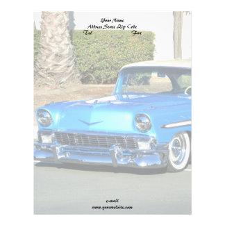 Cabeçalho azul clássico do carro papel timbrado