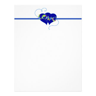 Cabeçalho azul dos corações do amor das flores papel de carta personalizados