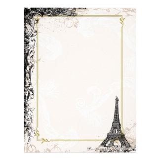 Cabeçalho francês do estilo da torre Eiffel Papeis De Carta Personalizados