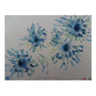 Cabeças de flor Splashy dos azuis cobaltos e da Cartão Postal