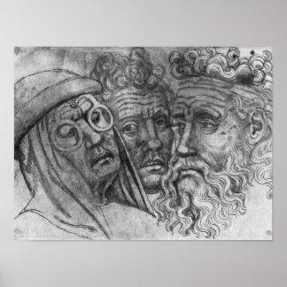 Cabeças de três homens o do álbum de Vallardi Posteres