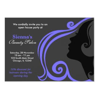 Cabeleireiro (azul claro da ardósia) convite 12.7 x 17.78cm