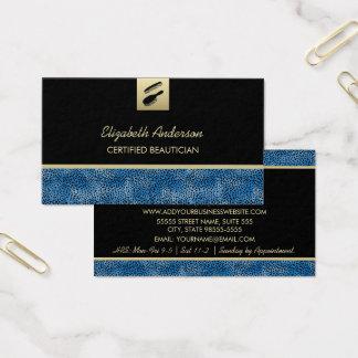Cabeleireiro azul do impressão da chita do cartão de visitas