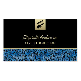 Cabeleireiro azul do impressão da chita do cartão de visita