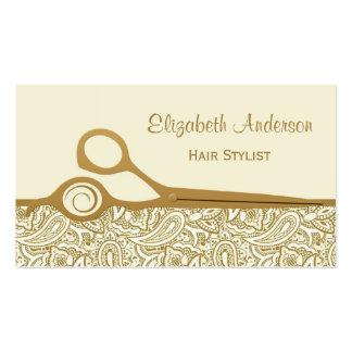 Cabeleireiro elegante de Paisley do ouro e do marf Modelo De Cartões De Visita