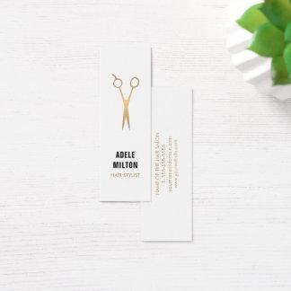 Cabeleireiro elegante minimalista do branco do cartão de visitas mini
