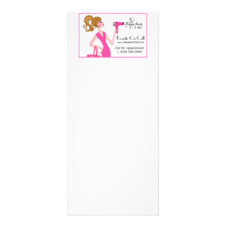Cabeleireiro em cartões da cremalheira da chamada 10.16 x 22.86cm panfleto