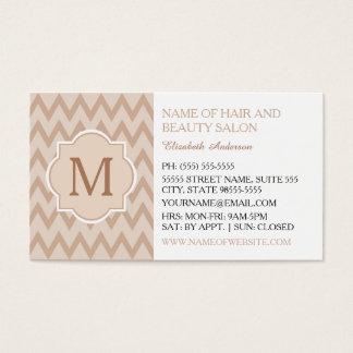 Cabeleireiro na moda do monograma do ziguezague de cartão de visitas