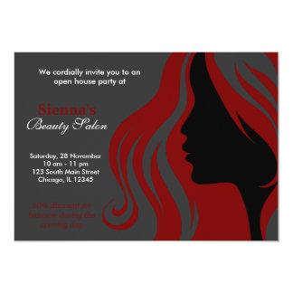 Cabeleireiro (obscuridade - vermelho) convite 12.7 x 17.78cm