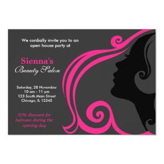 Cabeleireiro (profundamente - rosa) convite 12.7 x 17.78cm