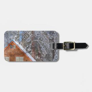 Cabine na neve etiqueta de bagagem