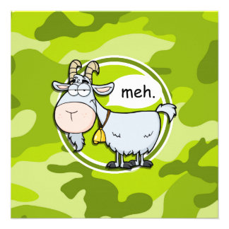Cabra engraçada camo verde-claro camuflagem convites personalizado