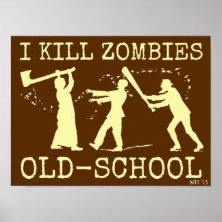 Caçador retro engraçado do assassino do zombi da pôsteres
