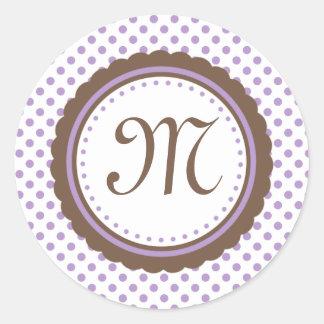 Cacau & etiqueta roxa da inicial do monograma das adesivo