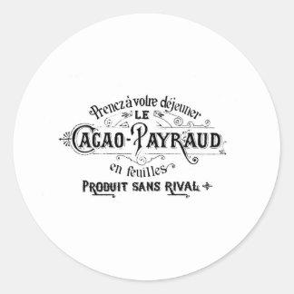 Cacau francês do vintage - anúncio de Payraud Adesivo Em Formato Redondo