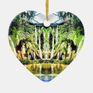 Cachoeiras da nuvem ornamento de cerâmica coração
